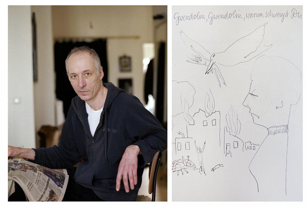 """Heiko Dupke, Künstler - """"Gwendolin, Gwendolin, warum schweigst Du"""" - Kugelschreiber auf DIN-A4-Papier"""