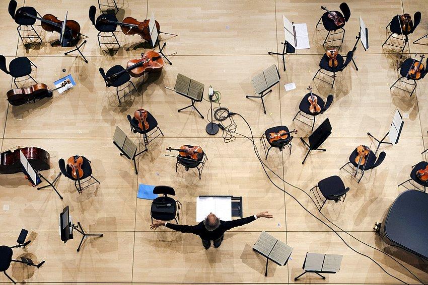 Emilio Pomàrico bei der Probe zur Eröffnung - Kleiner Saal in der Elbphilharmonie